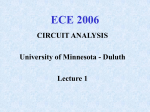 Lecture 1 - ECE 2006 - University of Minnesota Duluth