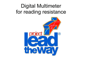 Using digital multimeter for reading resistors.