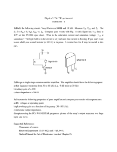 Physics 517/617 Experiment 4 Transistors - 1 R I