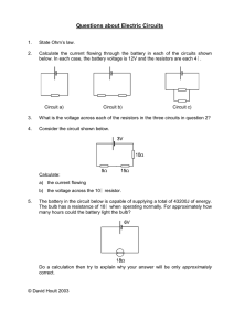 Questions about Electric Circuits