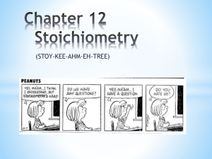 Chapter 12 Stoichiometry - Conejo Valley Unified School