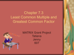 Chapter 7.3 Least Common Multiple and Greatest Common