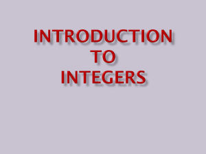 Introduction to Integers - Monroe Township School District
