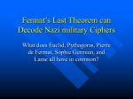 Fermat's Last Theorem can Decode Nazi military Ciphers