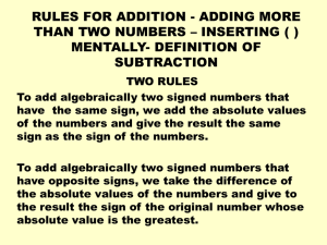RULES FOR ADDITION - ADDING MORE THAN TWO NUMBERS