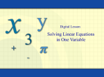 Solving Linear Equations in One Variable