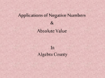 Applications of Negative Numbers & Absolute Value