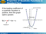 5-2 Basics of Quadratic Graphs and Equations