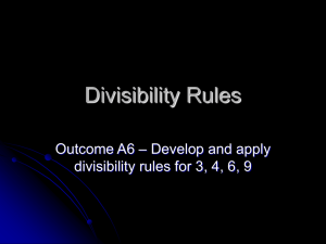 Divisibility Rules - HRSBSTAFF Home Page