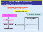 Real Number System a.