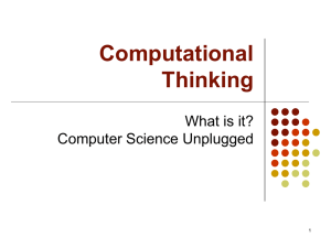 Computational Thinking and CS Unplugged