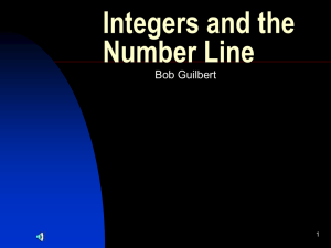Integers and the Number Line