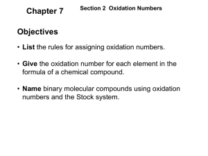 Section 2 Oxidation Numbers