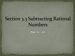 Section3.3 Subtracting Rational Numbers Revise