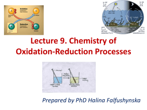 Lecture 9. Redox chemistry
