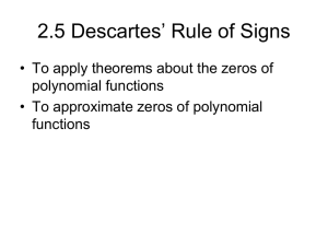7.5 Descartes` Rule of Signs