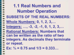 AII 1.1 Real Numbers and Number Operation