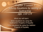 Chapter 3 Lesson 3 Solving Equations by Adding or Subtracting pgs