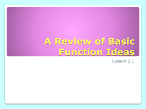 A Review of Basic Function Ideas