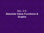 Sec. 2-5: Absolute Value Functions & Graphs