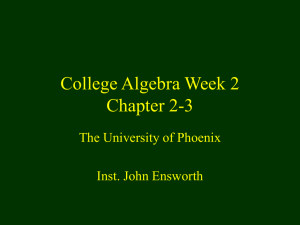 College Algebra Week 2