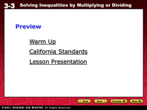 3-3 Solving Inequalities by Multiplying or Dividing