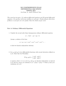 MS COMPREHENSIVE EXAM DIFFERENTIAL EQUATIONS SPRING 2012