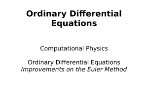 Ordinary Diferential Equations Computational Physics Ordinary Diferential Equations