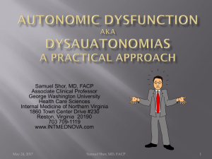 Autonomic Dysfunction - Internal Medicine of Northern Virginia