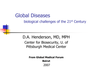 Global Diseases biological challenges of the 21st Century