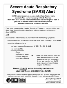 SARS Poster for Long Term Care Facilities