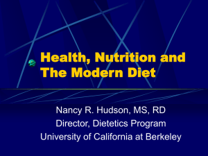 Health, Nutrition and The Modern Diet