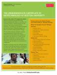 THE UNDERGRADUATE CERTIFICATE IN BIOTECHNOLOGY AT BOSTON UNIVERSITY