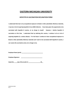 EASTERN MICHIGAN UNIVERSITY HEPATITIS B VACCINATION DECLINATION FORM