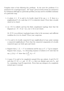 "Complete three of the following five problems. In the next... assumed to be a topological space. All ""maps"" given in..."
