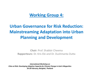 Working Group 4: Urban Governance for Risk Reduction