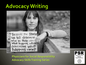 Advocacy Writing - Physicians for Social Responsibility