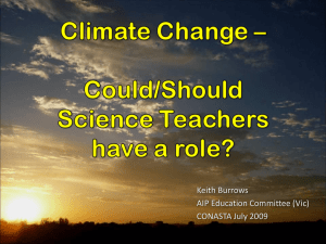 Climate Change – Can science teachers play a part