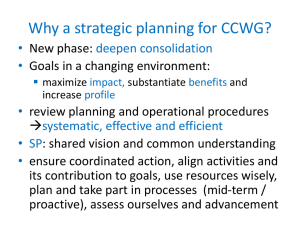 Why a strategic planning for CCWG?