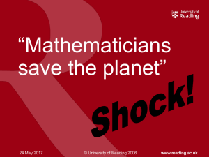 Mathematicians save the planet!