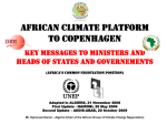 African climate platform to Copenhagen. Key messages to