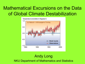 Mathematical Excursions on the Data of Global Climate Destabilization