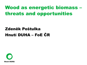 Wood as energetic biomass - threats and opportunities
