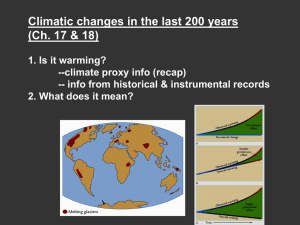 Climatic changes in the last 200 years