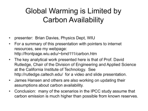 Global warming limited by carbon availability