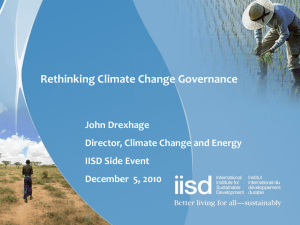 Rethinking Climate Change Governance IISD Side Event Facilitator
