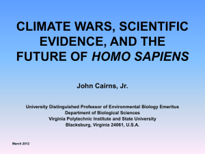 climate wars, scientific evidence, and the future of homo sapiens