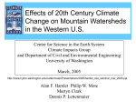 Effects of 20th Century Climate Change on Mountain Watersheds in