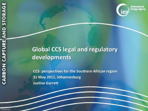 CCS legal and regulatory development