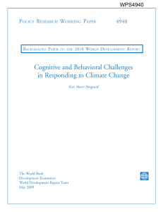 Cognitive and Behavioral Challenges in Responding to Climate Change P R